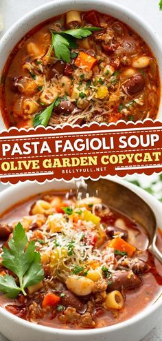 This contains: Pasta Fagioli Soup {Olive Garden Copycat}, comfort food, soup recipes Easy Weeknight Meals, Quick Easy Meals, Easy Delicious Recipes, Tasty, Simple Recipes, Italian Soup Recipes, Pasta Fagioli Recipe, Healthy And Unhealthy Food, One Pot Vegetarian