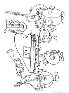coloring page Musical Instruments on Kids-n-Fun. Coloring pages of Musical Instruments on Kids-n-Fun. More than coloring pages. At Kids-n-Fun you will always find the nicest coloring pages first! Preschool Music, Music Activities, Teaching Music, Music Games, Music Lesson Plans, Music Lessons, Primary Lessons, E Piano, Music Worksheets
