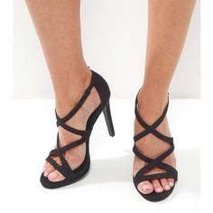 New Look Black Suedette Strappy Heeled Sandals (€31) ❤ liked on Polyvore featuring shoes, sandals, black, black stilettos, ankle strap sandals, cross strap sandals, ankle wrap sandals and black ankle wrap sandals