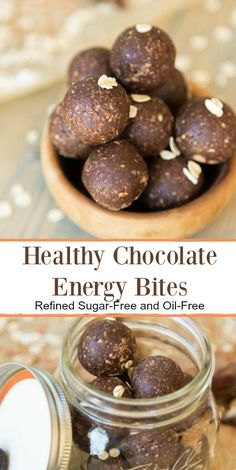 Healthy, oil-free and refined sugar-free chocolate energy bites! Made with cacao powder and whole food ingredients. Healthy Vegan Snacks, Good Healthy Recipes, Yummy Snacks, Whole Food Recipes, Dessert Recipes, Cacao Recipes, Superfood Recipes, Vegan Recipes, Vegan Energy Balls