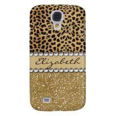 Leopard Spot Gold Glitter Rhinestone Print Pattern Samsung Galaxy S4 Case