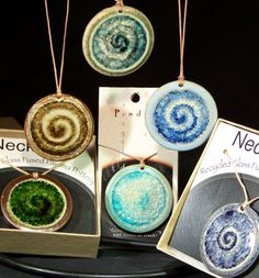 pottery and recycled glass pendants