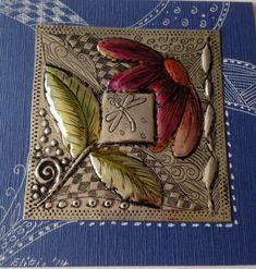 Pewter on card by Elitia Hart Metal Art www.pewterart.ca Tin Foil Art, Aluminum Foil Art, Tin Can Crafts, Metal Crafts, Arts And Crafts, Pewter Art, Pewter Metal, Metal Embossing, Metal Stamping