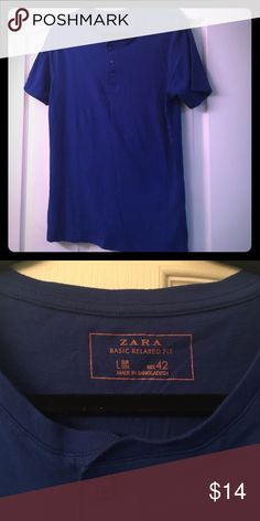 Zara tshirt royal blue with button Basic relaxed fit tshirt buttons at top. Royal blue, only worn once! Nice Zara tshirt Zara Shirts Tees - Short Sleeve