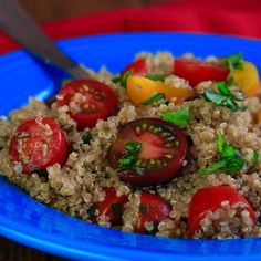Tomato, Basil, and Garlic Quinoa Salad