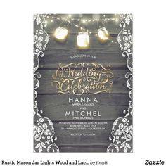 Rustic Mason Jar Lights Wood and Lace Wedding