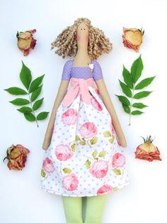 Fabric doll cute stuffed doll purple polka by HappyDollsByLesya