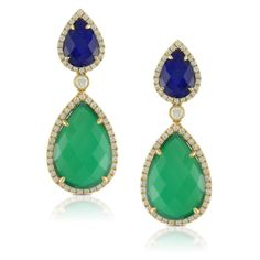 Green Agate, Lapis & Diamond Earrings! Available at Houston Jewelry!   www.houstonjewelry.com Diamond Earrings, Drop Earrings, Green Agate, Designer Earrings, Houston, Emerald, My Style, Dreams, Fun Things