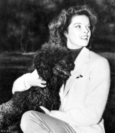 Katharine Hepburn & Best Friend ♡... Re-pinned by StoneArtUSA.com ~ affordable custom pet memorials for everyone.