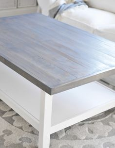 "Ikea Hack: Weathered Gray Coffee Table - Hemnes coffee table, 6 - 6ft peices of 1x2' and 3 - 1x4"" peices of wood and a stain in the color of your choice ( http://www.rustoleum.com/product-catalog/consumer-brands/wood-care/ultimate-wood-stain/ ) create this beautiful DIY coffee table!"
