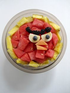 The fruit salad was a mix of watermelon, cantaloupe,  pineapple, strawberries, apples, grapes, blueberries and blackberries. I made four fruit Angry Birds; Red, Black, Yellow and Blue.