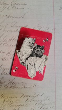 2 Single VINTAGE Swap//Playing Cards ANIMALS MUSIC DANCE 3 LITTLE PIGS Grn//Blue