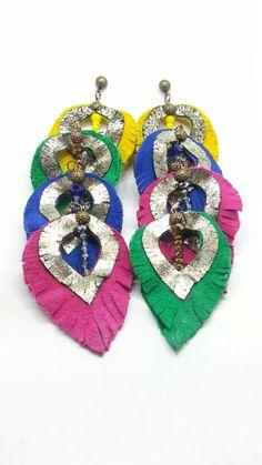 Leather earrings Xingu da Amazonia!