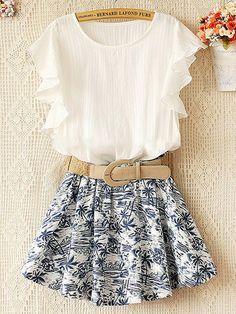 Elastic waist lotus leaf sleeve dress