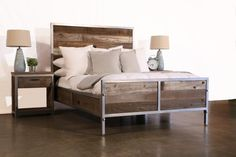 Our Reclaimed Wood Industrial Bed is hand-crafted to order for each of our customers. Every bed is built entirely at our studio in Los Angeles with
