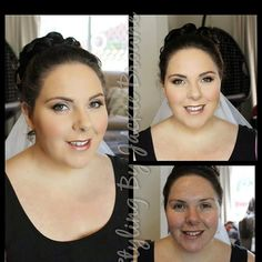Before and after of my bride today for hair and makeup