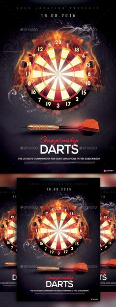 Darts Championship by YczCreative Darts Championship – Flyer Special designed for your ocasion Characteristics: • CMYK Mode at 300 DPI • PSD File • 4x6 – Print Rea