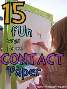 15 Contact Paper Ideas.  Use straws, foam bocks, craft sticks etc. to build things, make shapes etc. Use painters tape to work on tables or windows, or set up on child's easel.