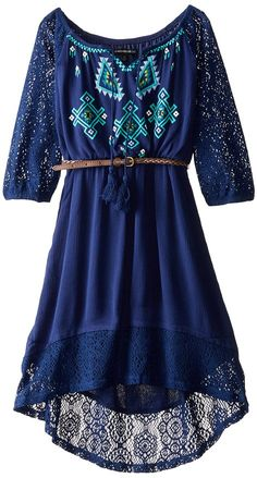 My Michelle Big Girls' Peasant Dress with Crochet Sleeves and Hem Boho Fashion, Fashion Dresses, Cute Dresses, Casual Outfits, Gowns, Celebrities, My Style, Crochet, Sleeves