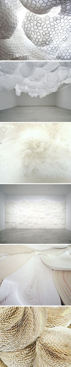 Tara Donovan's organic installations formed of prosaic manufactured materials like transparent cups and plastic straws, paper plates, and adding machine paper suggest the gentle waves found in natu...
