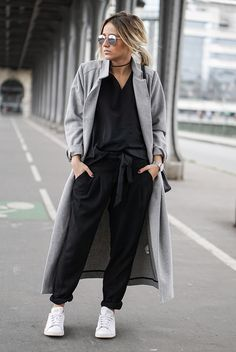 fall / winter - street style - street chic style - fall outfits - winter outfits - casual outfits - grey long coat + black v-neck top + black pleated pants + white sneakers + mirror sunglasses - athleisure - comfy outfits