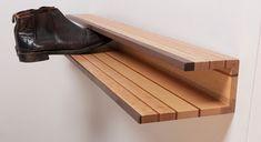 wall-mounted shoe rack, wood
