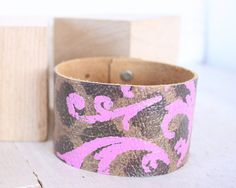 Women's Leather Cuff Bracelet  Pink Leather by YesterdaysNovember