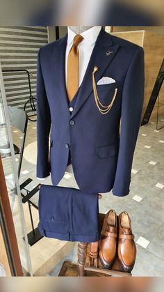 Black Tux Wedding, Wedding Suits, Navy Blue Suit, Black Suits, Big Men Fashion, Suit Fashion, Formal Suits, Three Piece Suit, Suit Vest