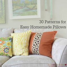 Learn how to make a pillow from this collection on AllFreeSeiwng, 30 Patterns for Easy Homemade Pillows. It's absolutely perfect in helping you decide what project you'll tackle next.