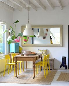 domino (@dominomag) • Instagram photos and videos Yellow Dining Room, Dining Room Table, Dining Rooms, Yellow Chairs, Open Plan Bathrooms, Modern Sink, Vintage Tile, Green Kitchen, Simple House