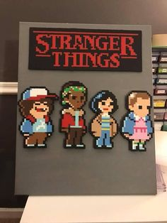 Stranger Things cast made from perler beads. Its on a in canvas. Stranger Things cast made from perler beads. Its on a in canvas. Perler Bead Designs, Diy Perler Beads, Perler Bead Art, Pearler Beads, Melty Bead Patterns, Pearler Bead Patterns, Perler Patterns, Beading Patterns, Loom Patterns