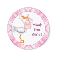 Baby Girl Announcement Stickers