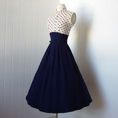 1940s navy blue and polka dot day dress #myfairlady #showme #forties