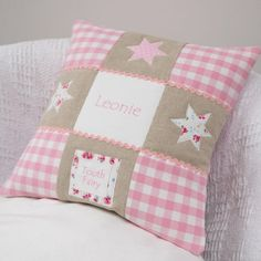 Little Star Tooth Fairy Cushion. This personalised pink cushion even has a little pouch at the bottom for her to keep her baby teeth while they wait for the tooth fairy to take it away. The perfect gift to keep dreams alive Little Girl Gifts, Tooth Fairy Pillow, Little Star, Natural Linen, Craft Fairs, Hand Sewing, Teeth, Sewing Projects, Unique Gifts