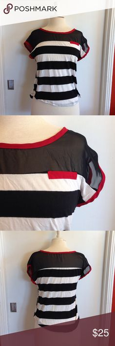 """Anthropologie Striped Blouse Anthropologie (Mauve) black & white striped blouse. Size medium. Mesh shoulders, front pocket, red trim. Material: 95% rayon, 5% spandex. Measurements: bust: 16.5"""", shoulders: 21"""", waist: 17.5"""", length: 20"""". Pre-loved, no flaws seen. Anthropologie Tops Tees - Short Sleeve"""