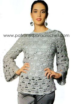 Cómo tejer túnica a crochet con punto calado Punto Red Crochet, Crochet Patterns, Pullover, Blouse, Sweaters, Corsets, Women, Crocheting, Quilts