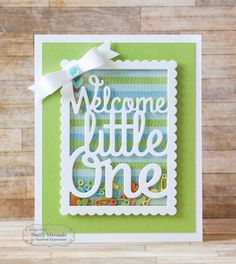 Welcome Little One Shaker Card by Shelly Mercado #Cardmaking, #TEMatched, #Baby, #ShakerCards, #LittleBitsDies, #TE, #ShareJoy
