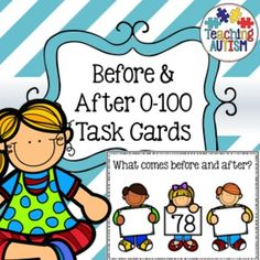 Before and After Task Cards, 0-100, CountingThis download includes 99 different task cards. There are 4 task cards to a page and these will require cutting out individually, then laminating if you wish for them to be able to be used again and again.There are also instructions included on the first page and the pages come in black and white for ink friendly printing or colour option for your preference.