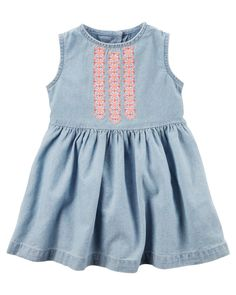 Baby Girl Carter's Embroidered Chambray Denim Dress & Bloomers Set, Size: 3 Months, Blue Other Girls Casual Dresses, Baby Girl Dresses, Girl Outfits, Chambray Fabric, Chambray Dress, Oakley, Carters Baby Girl, Baby Girls, Baby Girl Fashion