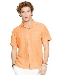 Polo Ralph Lauren Linen-Silk Camp Shirt - Casual Button-Down Shirts - Light Orange - Macy's
