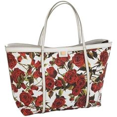 Pre-owned Dolce&gabbana 'miss Escape' Rose Print Tote Bag (10,740 THB) ❤ liked on Polyvore featuring bags, handbags, tote bags, none, woven beach tote, beach bag, beach tote, woven tote and white leather tote