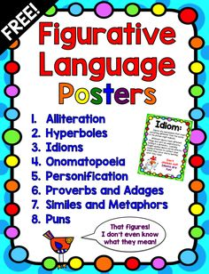 These FREE Figurative Language Posters are perfect for an easy teaching…