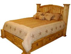 Queen-Under-Storage-Bed-Storage-Real-Wood-Free-Shipping-Western-Rustic