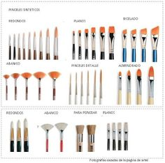 Tipos de pinceles, formas, sus usos y accesorios | Huezart