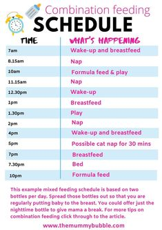 How to combine breastfeeding with formula feeding! This schedule will help you combine breast and bottle feeding your baby and works for a baby of around three months old. For lots more tips on combination feeding your baby, click through to the post! #combinationfeeding #baby #breastfeeding 6 Month Old Schedule, Baby Food Schedule, Baby Sleep Schedule, Baby Feeding Schedule, Feeding Baby Solids, Solids For Baby, Six Month Old Baby, Baby Month By Month, 6 Month Baby Food
