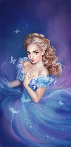 Illustration of Lily James as Cinderella from the 2015 movie remake of the fairytale. One of my favorite movies. Courage and Kindness Film Disney, Arte Disney, Disney Fan Art, Disney Love, Cinderella Live Action, Cinderella 2015, Cinderella Wallpaper, Disney Wallpaper, Disney And Dreamworks