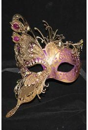 10in Wide x 6in Tall Mardi Gras Venetian Hand Painted Papier Mache Mask w/ Gold Metal Laser Cut and Crystals on Eyes