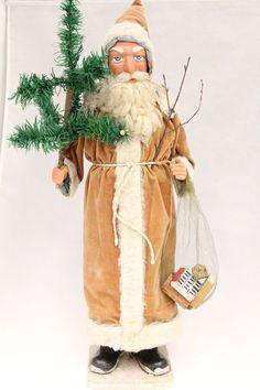 Santa Saint Nickolas 1920's Vintage German Christmas Candy Container Erzgebirge