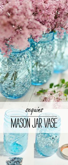Centerpiece Ideas for Weddings Using Mason Jars Vintage look blue mason jar vase with sequins. Easy to make mason jar vase. Great centerpiece for wedding or event or shower or party. Includes DIY how to. Mason Jar Vases, Blue Mason Jars, Mason Jar Flowers, Mason Jar Centerpieces, Mason Jar Lighting, Mason Jar Diy, Centerpiece Ideas, Diy Flowers, Mason Jar Flower Arrangements