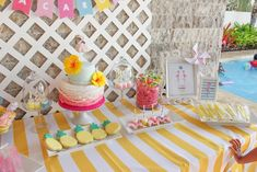 Sweet Table Details from a Flamingo pineapple themed birthday party via Kara's Party Ideas | KarasPartyIdeas.com (32)